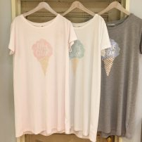 Nightdress Other / other Light pink mint green grey Average size Sweet Short sleeve Leisure home Middle-skirt Crew neck