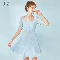 Dress Summer 2020 Clear water blue XS S M L XL Short skirt singleton  Short sleeve commute square neck High waist Solid color Socket A-line skirt puff sleeve Others 25-29 years old Type A U-ZHI Button More than 95% Chiffon polyester fiber Polyester 100% Pure e-commerce (online only)