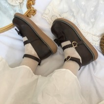 Low top shoes 35,36,37,38,39 Other / other Bright black, matte brown, tips: collect and buy socks Round head PU Flat bottom Middle heel (3-5cm) Shallow mouth PU Spring 2021 Flat buckle Sweet Youth (18-40 years old) Solid color rubber Single shoes Shallow mouth PU Patent leather