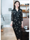 Dress Spring of 2019 White printing, black printing, coffee printing S,M,L,XL longuette singleton  Long sleeves commute V-neck middle-waisted Decor Socket Big swing routine 30-34 years old Type A What you look like in the past and this life literature printing More than 95% Chiffon polyester fiber