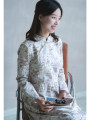 Dress Autumn of 2019 S,M,L,XL Mid length dress singleton  Long sleeves Sweet stand collar middle-waisted Decor Socket Big swing routine Others 25-29 years old Type X What you look like in the past and this life Button, print More than 95% other cotton Mori