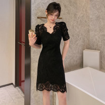 Dress Summer 2021 black S,M,L Short skirt singleton  Short sleeve commute V-neck High waist Solid color zipper A-line skirt puff sleeve Others 25-29 years old Type A Hollow out Lace
