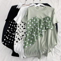 Dress Summer of 2019 Black, white, green Average size Mid length dress singleton  Short sleeve commute Crew neck Loose waist Dot Socket One pace skirt routine Others Type H Korean version 81% (inclusive) - 90% (inclusive) other cotton