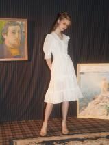 Dress Summer of 2018 white S. M, l, m (spot), s (spot) Middle-skirt singleton  elbow sleeve street High waist Single breasted Making back garden Europe and America