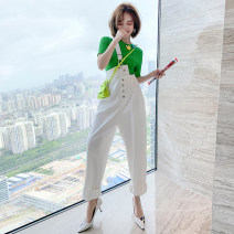 Fashion suit Summer 2020 XS,S,M,L,XL,2XL,3XL Green + white miuco T1148P0552