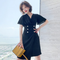 Dress Spring 2021 White, black S,M,L,XL,2XL,3XL Middle-skirt Fake two pieces Short sleeve commute V-neck High waist double-breasted Lotus leaf sleeve Type X miuco Ol style Ruffles, stitching, buttons D0204