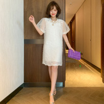 Dress Summer 2020 White + white, black + Black S,M,L,XL Short skirt Two piece set Short sleeve commute Crew neck Solid color puff sleeve miuco Ol style Bright silk, gauze D-69080