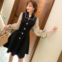 Dress Spring 2020 black S,M,L,XL Middle-skirt singleton  Long sleeves commute Doll Collar High waist Solid color Socket A-line skirt pagoda sleeve Others Type X miuco Ol style Button, button D-68260