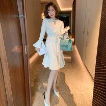 Dress Spring 2020 White, black S,M,L Middle-skirt singleton  Long sleeves commute Crew neck High waist Solid color Socket Ruffle Skirt pagoda sleeve Type X miuco Ol style Ruffles, diamonds, folds D-68579