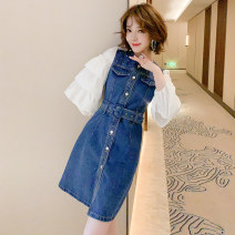 Dress Spring 2021 Denim blue and white XS,S,M,L,XL,2XL,3XL Short skirt Fake two pieces Long sleeves commute Crew neck High waist Single breasted Type X miuco Ol style Ruffles, diamonds, stitching D-69766