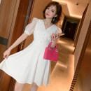 Dress Summer 2020 White, black S,M,L,XL Short skirt singleton  Short sleeve commute V-neck High waist Socket A-line skirt puff sleeve Type X miuco Ol style Diamond, stitching, mesh D-68876