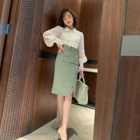 skirt Spring 2020 S,M,L,XL Bean green Middle-skirt commute High waist Pencil skirt Solid color Type H S-60706 miuco Ol style