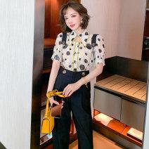 Fashion suit Spring 2021 XS,S,M,L,XL,2XL,3XL Polka + apricot + Black miuco T2855P1161