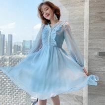 Dress Spring 2020 Blue, pink S,M,L Short skirt singleton  Long sleeves commute V-neck High waist A-line skirt bishop sleeve Type X miuco Ol style D-68669