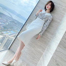 Dress Spring 2021 White background wave point spell white, black background wave point spell black S,M,L,XL,2XL,3XL Mid length dress Fake two pieces Long sleeves commute Polo collar High waist Socket shirt sleeve Type X miuco Ol style Stitching, nail bead D0089