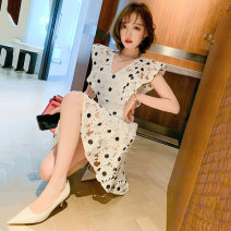 Dress Summer 2020 white S,M,L,XL,2XL,3XL Short skirt singleton  Short sleeve commute V-neck High waist A-line skirt Flying sleeve Others Type X miuco Ol style Lace D-69446