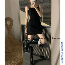 Dress Summer 2021 Dress s, dress m, dress L Average size Short skirt singleton  Sleeveless commute One word collar High waist Solid color Socket other routine straps 18-24 years old Type A Other / other Korean version 51% (inclusive) - 70% (inclusive) other