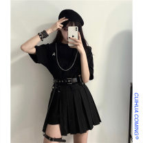 Fashion suit Summer 2021 Average size Black long T + chain, short skirt + belt, waist bag and leg ring 18-25 years old Other / other