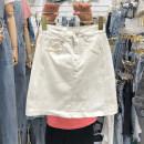 skirt Summer 2021 S,M,L,XL white Short skirt Versatile High waist Solid color 31% (inclusive) - 50% (inclusive) Denim