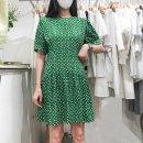 Dress Summer 2020 Green, white, black S,M,L Short sleeve Sweet Crew neck High waist Decor Socket other puff sleeve 31% (inclusive) - 50% (inclusive)