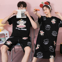 Pajamas / housewear set lovers Damos.love/daimengsi M [skin friendly and breathable] l [soft and comfortable] XL [same model in shopping mall] XXL [genuine tmall] XXXL [quality problem, return by mail] Men's and women's cotton Short sleeve Cartoon Leisure home summer Thin money Crew neck Pant Socket