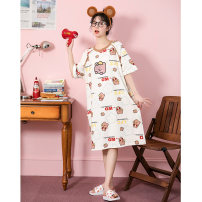 Nightdress Damos.love/daimengsi Picture color 160(M) 165(L) 170(XL) Cartoon Short sleeve Leisure home Middle-skirt summer Cartoon animation youth Crew neck cotton printing More than 95% pure cotton DMS1425020 200g and below Summer 2021 Cotton 100% Pure e-commerce (online only)