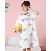 Nightdress Damos.love/daimengsi Picture color 160(M) 165(L) 170(XL) Cartoon Short sleeve Leisure home Middle-skirt summer Cartoon animation youth Crew neck cotton printing More than 95% pure cotton 200g and below Summer 2021 Cotton 100% Pure e-commerce (online only)