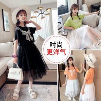 Dress Light green, black, orange female Other / other 110cm,120cm,130cm,140cm,150cm,160cm Other 100% summer leisure time Short sleeve Solid color other A-line skirt Class B Chinese Mainland Zhejiang Province Huzhou City