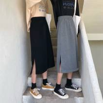 skirt Autumn of 2019 S,M,L Black, dark grey commute High waist A-line skirt Solid color Type A 18-24 years old 71% (inclusive) - 80% (inclusive) other polyester fiber