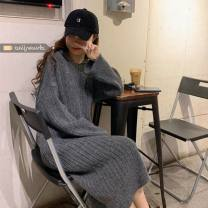 Dress Autumn 2020 Black, grey, apricot Average size singleton  Long sleeves commute Hood Loose waist Solid color Socket other routine Others 18-24 years old 71% (inclusive) - 80% (inclusive) other polyester fiber