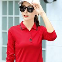 T-shirt M,L,XL,2XL,3XL,4XL Winter 2020 Long sleeves Polo collar Self cultivation Regular routine commute cotton 96% and above 30-34 years old Korean version family affection