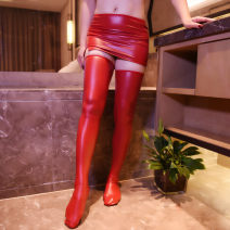 Socks / base socks / silk socks / leg socks female A lady of virtue Leather skirt leather stockings leather skirt + Leather stockings Black red 1 pair routine High tube Four seasons sexy Solid color polyester cotton Winter 2020 Other 100% Other 100%