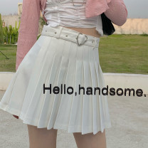 skirt Spring 2021 S,M,L white Short skirt street High waist A-line skirt Solid color Type A 18-24 years old AL2684 51% (inclusive) - 70% (inclusive) 1W BLACK polyester fiber Sports & Leisure