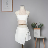 Dress Spring 2021 white S, M Short skirt singleton  Sleeveless commute square neck High waist other Socket One pace skirt routine 18-24 years old Type A Korean version Splicing 91% (inclusive) - 95% (inclusive) knitting cotton