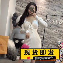 Dress Autumn of 2019 White, black S, M Short skirt singleton  Long sleeves commute V-neck High waist Solid color zipper other puff sleeve 18-24 years old Type X lady Flocking, epaulets, paint splashing, asymmetry, nail bead, strap, zipper, resin fixation, Auricularia auricula, lace, fold