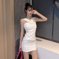 Dress Summer of 2019 White, black, pink S,M,L Short skirt singleton  Sleeveless commute V-neck High waist Solid color zipper A-line skirt other camisole 18-24 years old Type A Korean version Zipper, open back other
