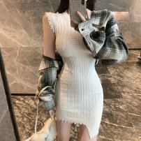 Dress Winter 2020 white S,M,L Short skirt singleton  Long sleeves commute Crew neck High waist Solid color Socket A-line skirt routine Others 18-24 years old Type A Space of Youwu City Korean version Splicing 91% (inclusive) - 95% (inclusive) other other
