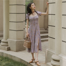 Dress Summer of 2019 violet S,M,L Mid length dress singleton  Short sleeve commute square neck High waist Decor zipper Others Type A Other / other Retro Print, split 81% (inclusive) - 90% (inclusive) Chiffon