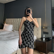 Dress Summer 2021 letter S,M,L Short skirt singleton  Sleeveless commute V-neck High waist Solid color Socket One pace skirt other camisole 25-29 years old Type X Korean version 91% (inclusive) - 95% (inclusive) cotton