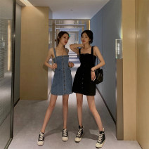 Dress Summer 2021 Black, blue XS,S,M,L,XL Short skirt singleton  Sleeveless commute One word collar High waist Solid color Single breasted A-line skirt camisole 25-29 years old Type A Korean version Pocket, button 91% (inclusive) - 95% (inclusive) cotton