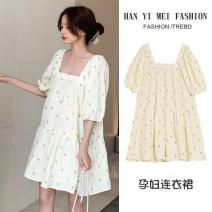 Dress Other / other Yellow floral skirt M,L,XL,XXL Korean version Short sleeve Medium length summer square neck Decor