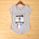 T-shirt Gray camera Vellmentto / valmonto 130cm,135cm,140cm,145cm,150cm,155cm female summer Short sleeve Crew neck Europe and America No model nothing Artificial colored cotton Cartoon animation Polyester 65% other 35% HSXJLPT Class B Sweat absorption 4, 12, 11, 10, 9, 8, 7, 6, 5