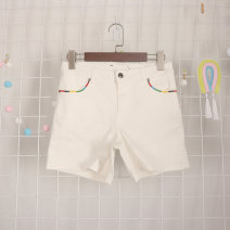 Jeans Summer 2020 white 34,36,38,40,42 shorts High waist Wide legged trousers Thin money 25-29 years old Cotton elastic denim light colour Vellmentto / valmonto 96% and above