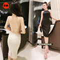 Dress Summer 2020 Apricot, violet, black S,M,L Mid length dress singleton  commute Crew neck High waist Solid color Socket One pace skirt other camisole 25-29 years old Type H Other / other Korean version