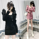 Dress Autumn 2020 Black, purple S,M,L Short skirt singleton  Long sleeves commute square neck High waist zipper A-line skirt routine Others 18-24 years old Type A Ol style