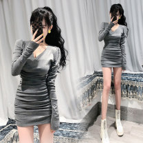 Dress Autumn 2020 grey Average size Short skirt singleton  Long sleeves commute V-neck High waist Solid color Socket One pace skirt routine Others 18-24 years old Type H Ol style