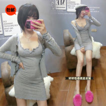 Dress Summer 2020 Black, grey, pink Average size Short skirt Two piece set Long sleeves commute V-neck High waist Solid color Socket One pace skirt routine camisole 18-24 years old Type H Korean version 81% (inclusive) - 90% (inclusive) other cotton