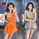 Dress Summer 2020 Orange, gray, black Average size Miniskirt singleton  Sleeveless commute V-neck High waist Solid color Socket Pleated skirt routine Others 25-29 years old Other / other Ol style 31% (inclusive) - 50% (inclusive) other cotton