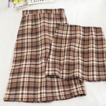 skirt Autumn 2020 S,M,L,XL Green long, green short, card long, card short Versatile High waist A-line skirt lattice Type A 18-24 years old 30% and below