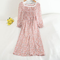 Dress Summer 2020 Blue, red, purple, pink Average size Middle-skirt singleton  Long sleeves Sweet Crew neck Loose waist Decor zipper A-line skirt other Others 18-24 years old Type A 30% and below other other